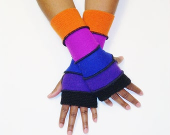 Fingerless Gloves,Armwarmers,Jewel Tones(Black/Purple/Royal Blue/Fuschia/Pumpkin) by BrendaAbdullah