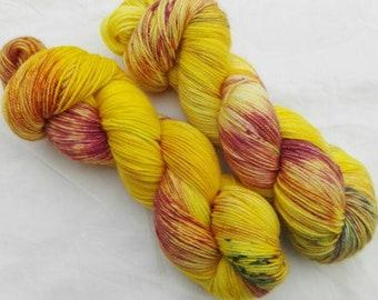 Hand dyed sock yarn merino cashmere nylon Lavender Lemonade