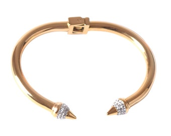 Crystal Bracelet Cuff Bangle - Stainless Steel Bangle Spring Hinge Inlaid Rivet Cuff Bracelet Gold Plated