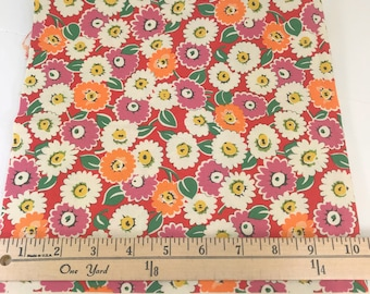 Pink Orange Red Daisy Fabric, Look and Learn, American Jane, Moda, Sandy Klop, **PRE-WASHED**, 18 Inches