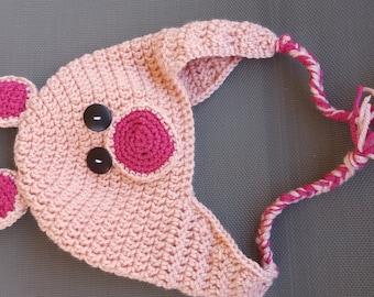 Pig crochet hat pattern