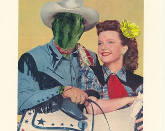 Cowboy Art, Cactus Art, Cowboy Couple, Wild West Art, Cowgirl and Horse, Western Art, Surreal Art, Original Collage, Stubble Trouble