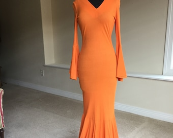 Long Orange Knit Flare Bell Sleeve Form Fitting Dress 1970