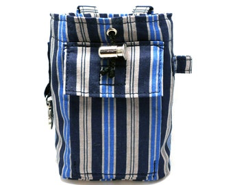 Blue and grey striped dog treat / training / snack bag/ Dog treat bag / Pet training bag / Dog snack bag