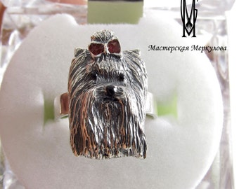Silver Ring Yorkshire Terrier Yorkshire Terrier Ring , Sterling Silver Ring, Dog Ring, Yorkie, Dog Jewelry,