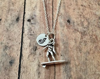 Surfer initial necklace - surfer jewelry, surfer girl necklace, surfer jewelry, beach necklace, gift for surfer, ocean necklace
