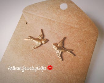 Hypo-Allergenic Gold Sparrow Stud Earrings Gold Bird Stud Earrings Gold Sparrow Post Earrings Boho Earrings Mother's Day Gift For Her