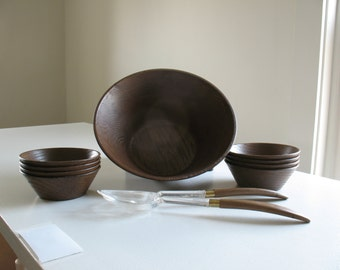 Vintage West Bend salad bowl set /faux wood brown plastic salad bowls / 70s boho dishware / retro kitchen gift