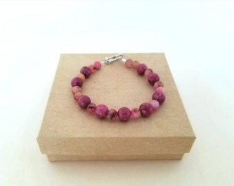 Pink Agate and Howlite Bracelet // Bright Pink //