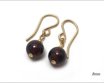 Garnet - Round Drop Earrings - Size Options: 6mm or 8mm