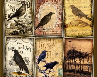 RAVeN/CRoW ALTeReD ArT HaNG TaGS/ CARDS - INSTaNT DOWNLoAD -Printable Digital Collage Sheet -Primitive Images for ATC - 3.5 x 2.5