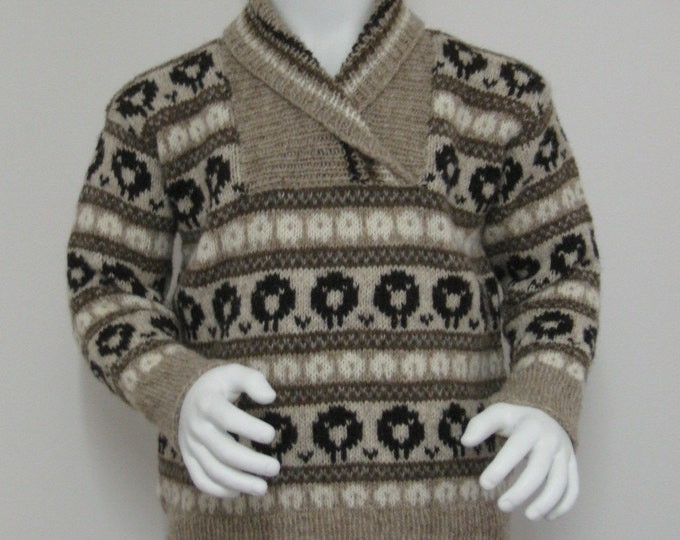 pdf pattern for Shawl Neck Sheep Sweater for Kids by Elizabeth Lovick - instant download
