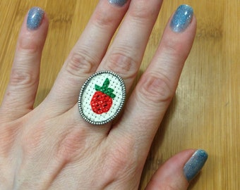 Cross Stitch Ring of Cute Strawberry on Faux Silver Adjustable Ring Base