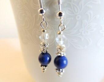 Lapis Dangle Earrings, Sterling Silver Jewelry