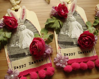 Vintage Style Easter tags old photo cute little girl Happy Easter egg hunting party favor embellished manilla tags package ties for Easter