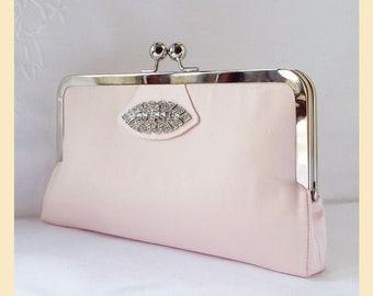 Bridal clutch, pink purse, wedding purse, pink clutch, bridesmaids gift, bridal purse, personalised clutch, Art Deco wedding, diamante trim