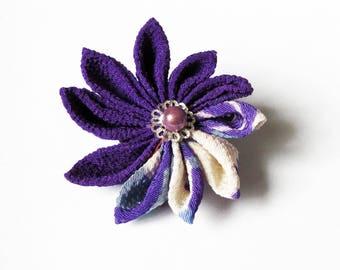 Purple Kanzashi tsumami flowers hairpiece