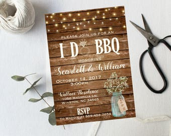 I Do BBQ Shower Rustic Wood String Lights Engagement Party Invite, mason jar country, Couples Shower, printable or printed babys breath