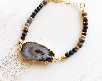 Black agate Geode bracelet, gemstone gold filled jewelry, Gypsy boho Nomad Bangle, Labradorite spinel nugget