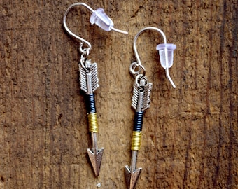 Arrow Earrings, Arrow Jewelry, Archery Jewelry, Archery Earrings, Silver Arrow - Lakeside Arrow Earrings (Silver)