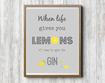 Gin Kitchen Wall Art, Lemons Kitchen Art, Lemon Kitchen Prints, Gin And  Tonic