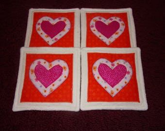 Pink on Orange VALENTINE's DAY Country HEARTS Fabric Coasters Mug Mats Hot Pads Scatter Mats Trivets