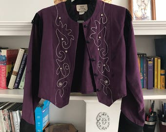 Vntg 1849 Authentic Ranchwear Eggplant Cropped Blazer size Small with stitching detail