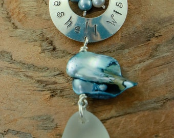 """White Seaglass Necklace with Hand stamped Sterling Silver Disc """" Seashell Wishes"""" accented with freshwater pearls, dark blue leather cord"""