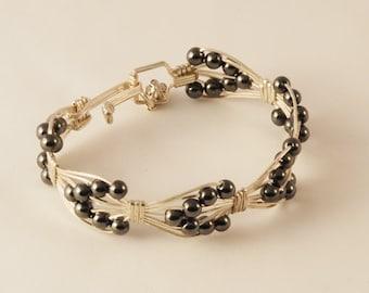 Set! Tarnish-resistant Silver & Hematite Bracelet Earrings