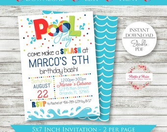 Editable Pool Party Invitation - Pool Party Birthday Invitation - Pool Birthday Invitation - Printable - Digital File - Edit w/ Adobe Reader