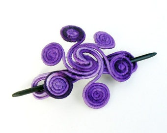 Purple Hair barrette, Metal hair pin, Shawl brooch, Whimsical Fascinator, Thick hair clip, Fork Slide clamps, Hair decorations Violet Lilac