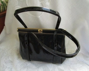 Black Patent Leather Handbag Vintage 1950's Mid Century Vinyl Purses Top Handled Bag Accessory