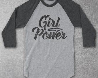 Girl Power Baseball Tee - Vintage Graphic Tees - Feminism - Womens Movement - Gray Baseball Raglan Shirt - Womens Graphic Tee