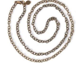 """Small Link Chain 24"""" Necklace - Antiqued Imitation Gold (IP061)"""