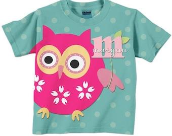 Girls Owl T-Shirt, Personalized Monogrammed Aqua Shirt, Childrens Clothing
