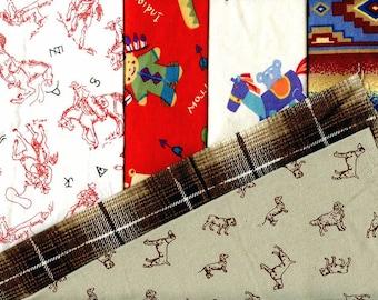 Novelty Pre Cut flannel quilt squares Six different prints juvenile children western style cowboy, horse, indian, tepee, pillow, quilt, toys