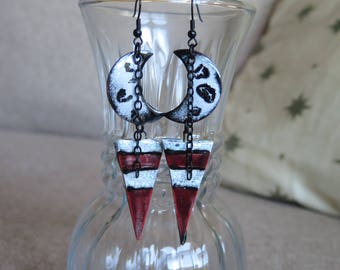 red and black earrings, goth earrings, black and white earrings, dagger earrings, long earrings, long red earrings, long black earrings