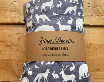 Woodland Crib Toddler Fitted Sheet, Deer, Rustic, Gift, Baby Shower, Gray, Boys