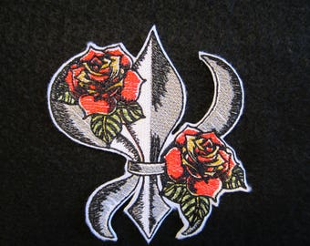 Embroidered Fleur De Lis Iron On Patch, Fleur De Lis, Iron On Patch, Iron On Applique Fleur De Lis With Roses