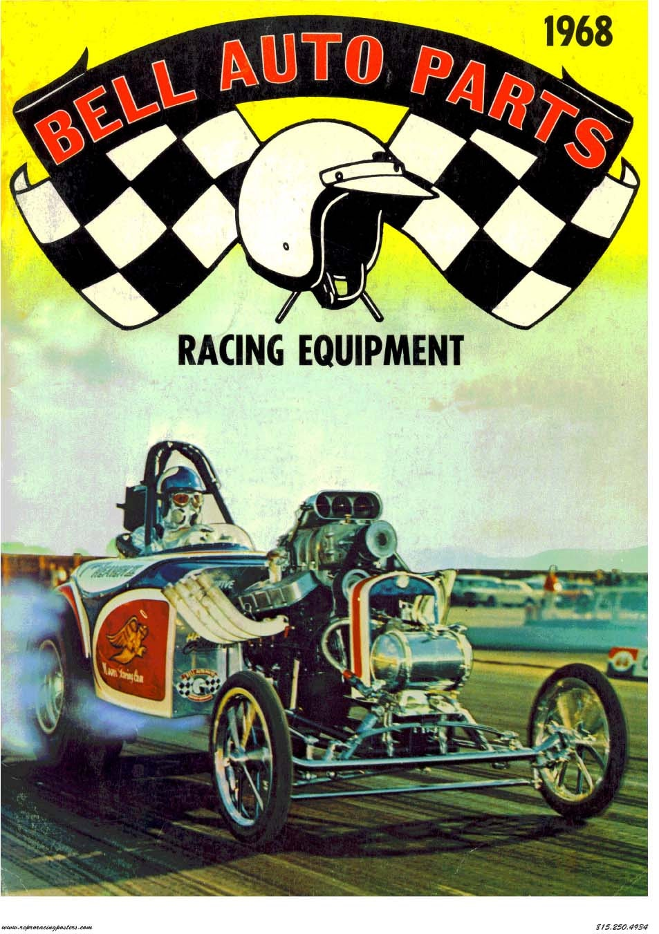 Vintage Reproduction Racing Poster 1968 Bell Auto Parts Pure