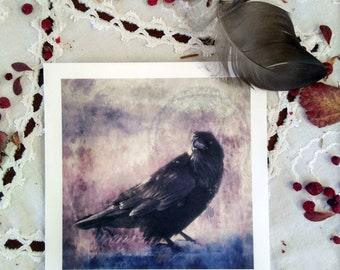 Blackbird, Art card print 5x5""