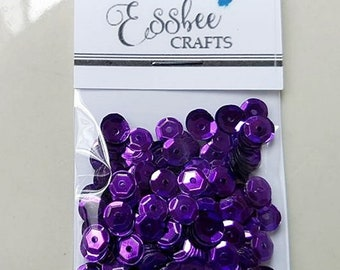 Deep Violet Purple Sequins 6mm Cupped Faceted for Stamping Cards Papercrafting Scrapbooking & Embellishments