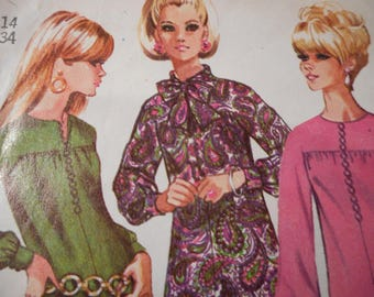 Vintage 1960's Simplicity 7297 Mod Dress Sewing Pattern Size 14 Bust 34