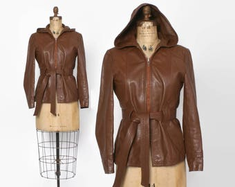 Vintage 70s LEATHER Jacket / 1970s Chocolate Brown Belted Leather Jacket with Hood XS