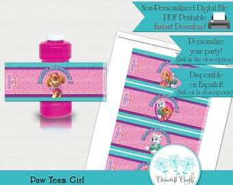 Paw Team Girl Inspired Printable Bubble Bottle Wrapper
