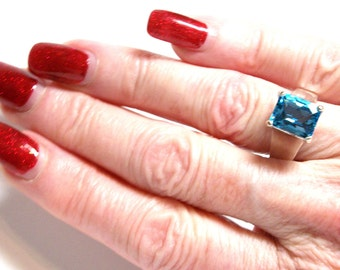 """Swiss blue topaz, birthstone ring,solitaire ring, swiss blue, engagement ring, s 6 3/4     """"Windjammer"""""""