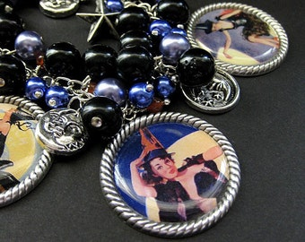 Sexy Witch Bracelet. Halloween Bracelet Beaded with Pinup Girl Witch Charms. Handmade Halloween Jewelry.