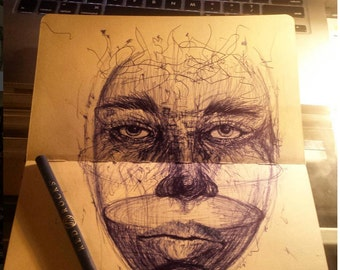 "Bank pen ballpoint drawing ""Half Empty"""