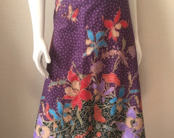 Vintage Women's 70's Floral Skirt, Cotton, Knee Length by Casey's Place (XL)