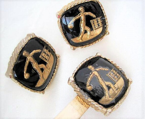 Bowling Cufflinks Set,  Gold Intaglio, Black Background, Gold Bowliing Cufflinks and Tie Clip